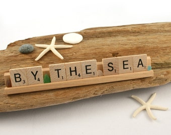 BY THE SEA Scrabble Letters Sign