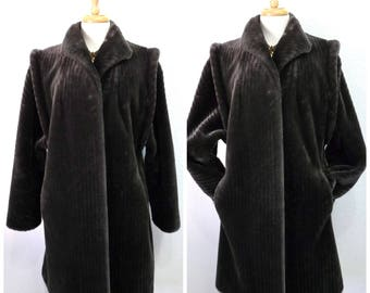 Faux Fur Coat Charcoal Grey Intrigue by Glenoit made in USA Warm Coat Large