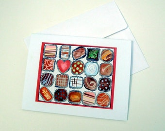 Watercolor Stationery Note Cards - Box of Chocolates Watercolor Art Notecards, Set of 8