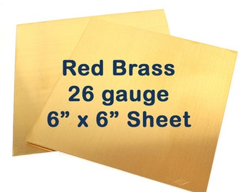 Red Brass Sheet - 26 Gauge - 6 x 6 Inches