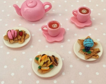 Set of miniature foods for dollhouse and dolls. Kettle, cups of tea and wafers with ice cream. 1:12 scale