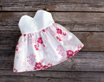 Fits like American Girl Doll Clothes - Lace and Floral Sweetheart Strapless Dress | 18 Inch Doll Clothes