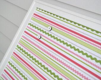 Magnetic Bulletin Board - Framed Magnet Memo Board in Lime Green and Pink Stripe Decorative Designer Fabric 20.5 x 26.5 Handmade Frame