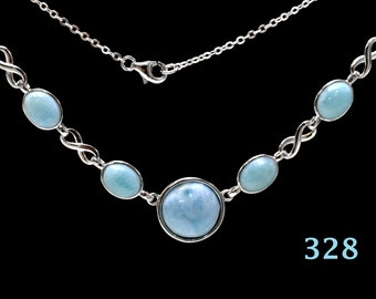 LARIMAR NECKLACE. 100% Natural. Center,12mm And Four 6X8mm 925 Sterling Silver