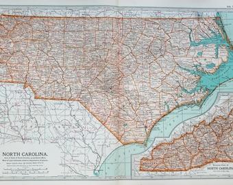 Antique Map : North Carolina, USA, US State Map. Encyclopedia Britannica, 1890s (78)