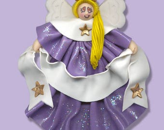 Lavender Angel with Blonde Hair - Handmade Polymer Clay Personalized Christmas Ornament - ON SALE!