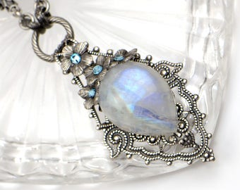 Moonstone Bridal Necklace, Moonstone Wedding Jewelry, Boho Wedding Necklace, Boho Bridal Necklace, Bridal Jewelry Set, Moonstone Necklace