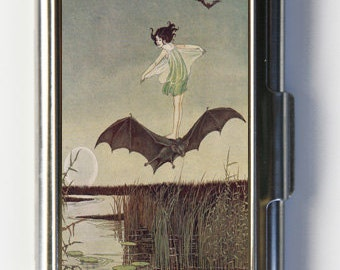 Girl Riding Bat Business Card Holder Card Case Art Nouveau fairytale