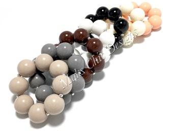 Toddler or Girls Solid Color Chunky bracelets - Taupe, Grey, Brown, White, Black, Ivory, Peach Bracelet - Neutral Bracelet - Fall Bracelet
