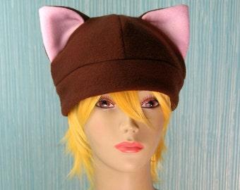 Fleece Cat Hat / BROWN + LIGHT PINK Inner Ears Beanie Style Cap Cute Anime Neko Cosplay Kitty Cat Ears Kawaii Fashion