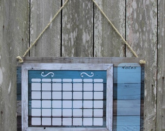 Dry erase calendar, blue barn wood calendar, rustic calendar, white board, wall calendar, dry erase, office calendar