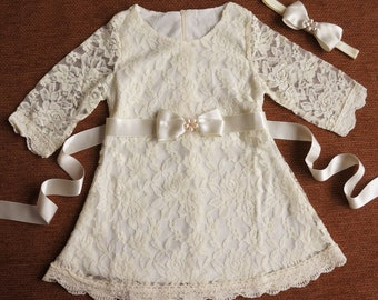 Ivory Lace Girl Dress, Lace Flower Girl Dress, Flower Girl Dress, Ivory Flower Girl, Rustic Flower Girl, Country Wedding, Toddler Lace Dress