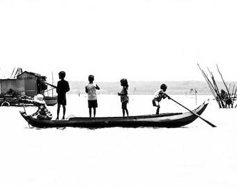 Cambodia Wall Art, Black and White Print, Children Playing Art Photo, Boat Picture, Cambodia Photography, Minimalist Asia Travel Art Print