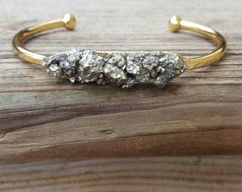 Pyrite Bracelet Gift-for-her Gold Cuff Bracelet Skinny Cuff MInimalist Bracelet Healing Stone Bracelet Statement Jewelry Raw Pyrite Bracelet