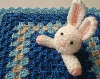 Baby blue handmade granny square crochet comforter blanket with bunny 28cm x 28cm