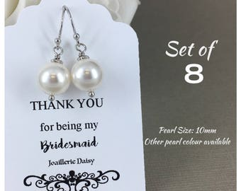 Set of 8 Bridesmaid Earrings Gift for Her Swarovski Earrings Mother of the Bride Gift Mother of Groom Gift Bridal Party Jewelry Wedding