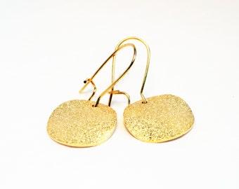 Gold coin earrings - stardust earrings - gold disc earrings - glitter earrings - coin earrings - brushed gold earrings - gold stardust