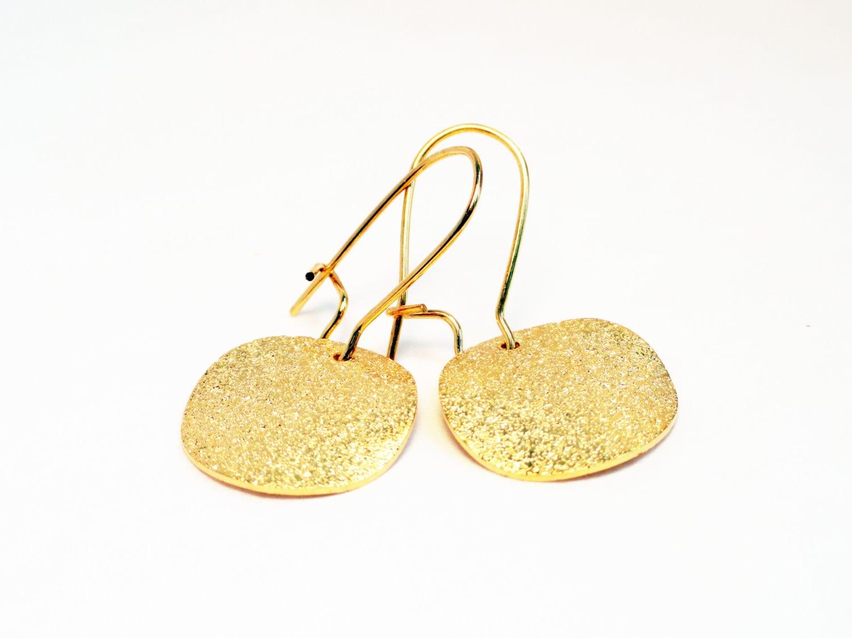 Gold münzenohrringe gebürstet Sternenstaub Ohrringe