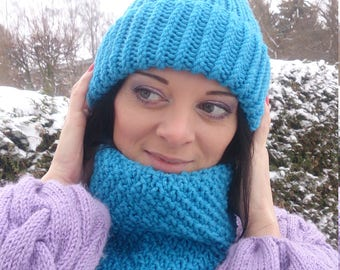 Winter Set Turquoise, Scarf And Hat Set, Knit Hat, Knit Cowl, Women Hat, Hand Knit Hat, Beanie Cowl 2 in 1, Wool Cowl, Hat And Snood, Gift