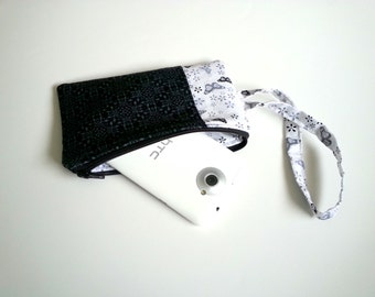Damask and Butterfly Wristlet in Black, White, and Gray - Zipper Pocket