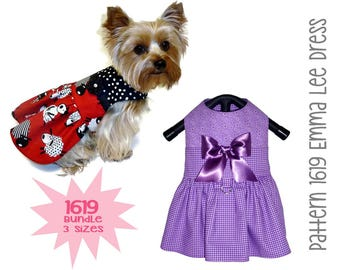 Emma Lee Dog Dress Pattern 1619  * Dog Clothes Patterns * Small Dog Clothes * Dog Harness * Pet Clothes * Dog Dress Pattern * Bundle 3 Sizes