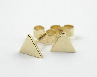 Tiny Triangle Earrings, 9k Gold Triangle Stud Earrings, Geometric Stud Earrings, Simple Gold Earring, Minimalist Earring