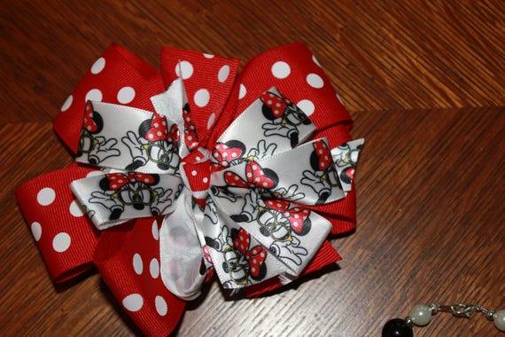 Disney Minnie Mouse Bow, Handmade Bow,Girls Bow,Birthday Bow, Toddler Bow