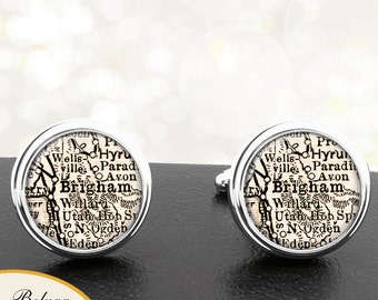 Map Cufflinks Brigham UT Cuff Links State of Utah for Groomsmen Wedding Party Fathers Dads Men