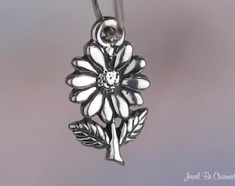 Miniature Sterling Silver Daisy Charm Flower Daisies Tiny Solid .925