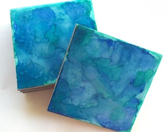Alcohol Ink Tile Coasters Set of 4