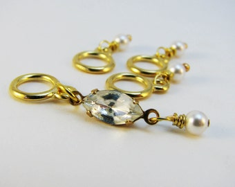 Stitch Markers for Holly Golightly - Diamonds & Pearls