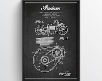 1943 Indian Motorcycle Patent Wall Art Poster, Indian Poster, Indian Print, Home Decor, Gift Idea, TRBM12P