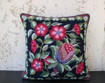 Vintage Handmade Embroidered Throw Pillow Decorative Pillow Multicolour Folk Art Pillow