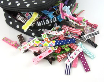 10 PACK - Baby Hair Clips - toddler hair clips baby hair clips - baby girl bows - barrettes - girl toddler - non slip alligator clips lc