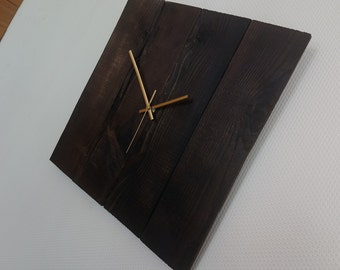 Large rustic recycled square wooden clock with burnt finish and gold hands - wall clock / minimalist / country / farmhouse