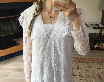 Gunne Sax Lace Drop Waist Dress S M