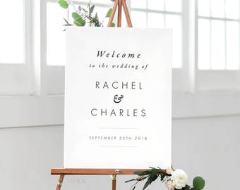 Printable Wedding Signs Welcome -  Modern Minimalist Wedding Signage - Welcome Sign Wedding - (Item code: P330)