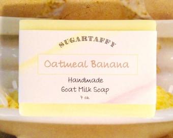Oatmeal Banana Goat Milk Soap, Goat Soap, Bath Soap, Body Soap, Oatmeal, Banana, Bar, Yellow, Soap Scents
