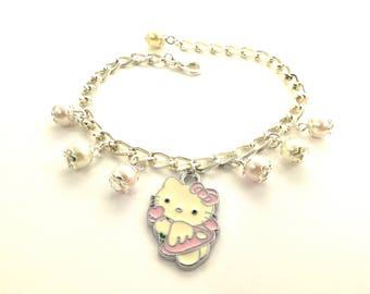 Charm Bracelet, Kitty Bracelet, Bracelet with kitty charms, Kitty Charm Bracelet, Gift for girl, Christmas gift/ Katarzyna Bodera Sandycraft