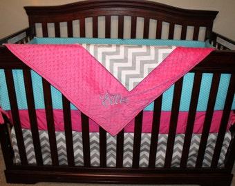 Aqua Dot, Gray Chevron, and Hot Pink Crib Bedding Ensemble