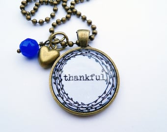 Thankful Necklace - One Word Jewelry - Inspirational Pendant - Text Jewelry - Custom Jewelry - You Choose Bead and Charm - Christian Pendant