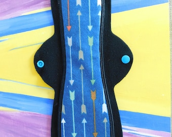 """Full Coverage or Overnight Cloth Pad (12 inch -Moderate or Heavy Flow- """"Blue Arrows"""" 100% Cotton Flannel)"""