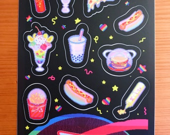 NEUE Regenbogen Junk-Food Galaxie Aufkleberbogen mit Pixel-Art von bitmapdreams