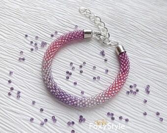 Purple Bracelet Bridesmaid Bracelet Boho Bracelet Beaded Bracelet Pink Bracelet Bridal Bracelet Femme Minimalist Bracelet Bridesmaid Gift