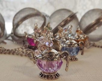 Lavender, Crystal, Teapot, Tea Ball, Tea Strainer