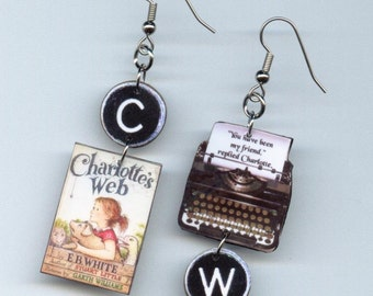 Book cover typewriter Earrings - Charlotte's Web quote - asymmetrical mismatched earring designs by Annette - literary reader's gift