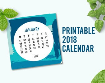 2018 Printable Calendar | 2018 Calendar | 2018 Wall Calendar | Desk Calendars 2018 | Wall Calendar 2018 | Abstract Pattern | PDF | Digital
