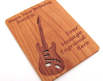 Real Wood Birthday Card - Hope Your Birthday Rocks - Laser Engraved Laser Cut