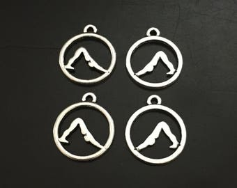 4PC Yoga Charm-Antique Silver Tone
