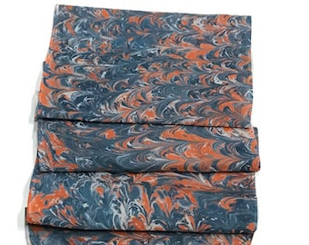 "One-of-a-kind Handmade Marbled Silk Scarf 11""x60"" - Jasmine - Orange and Blue"